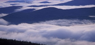 From Sugarloaf Mtn. Sunrise, undercast, fog. Nash Stream State Forest. Northern Forest. Cohos Trail. Stratford, NH