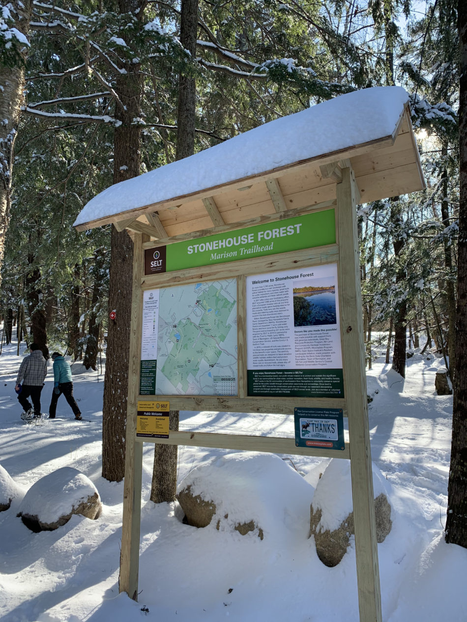 The entrance to the Stonehouse Forest in Barrington, New Hampshire.